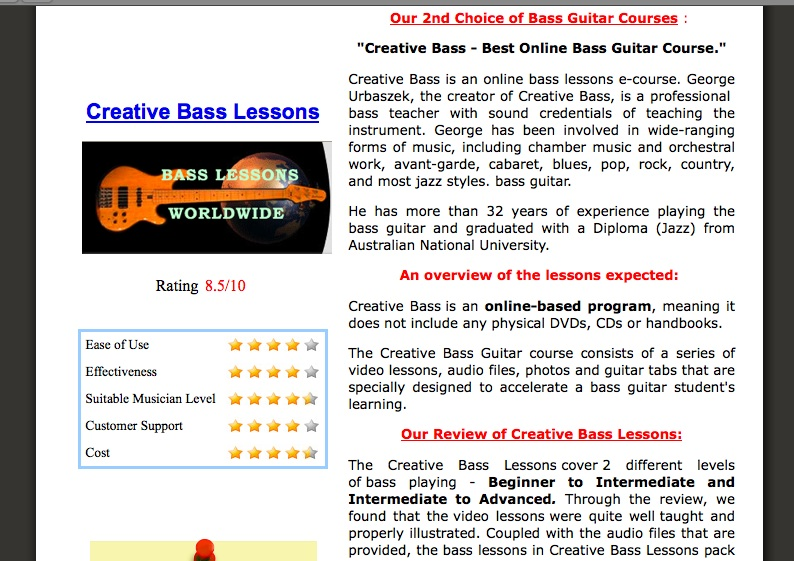 Review of CreativeBassLessons