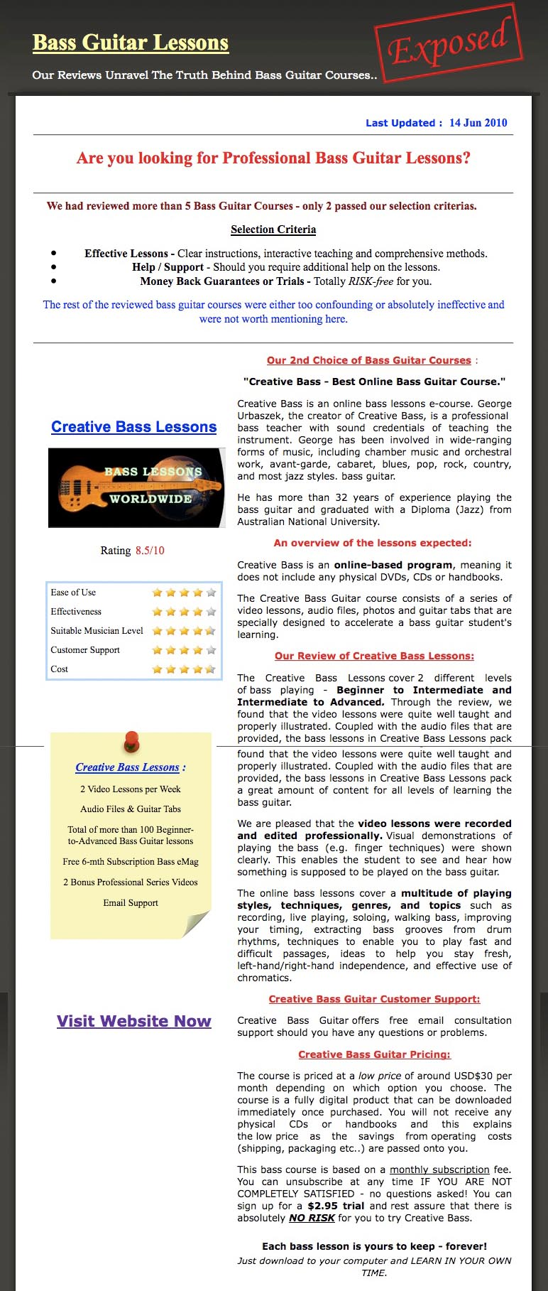 Testimonials about Bass Lessons Online